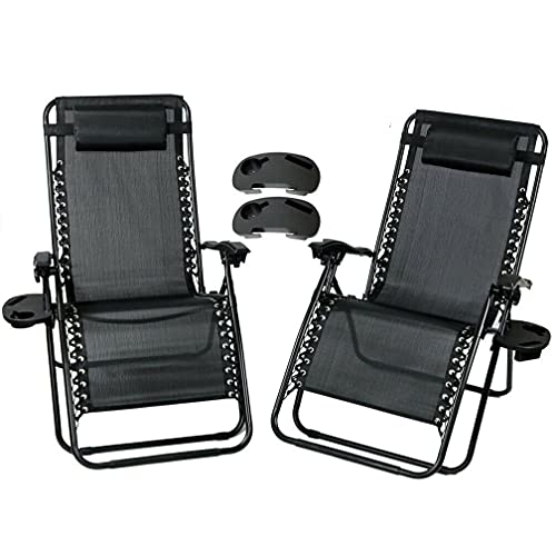 Abaseen Set of 2 Sun Lounger Recliner Zero Gravity Garden Patio Folding Chairs With Cup And Phone Holder (Double Black)