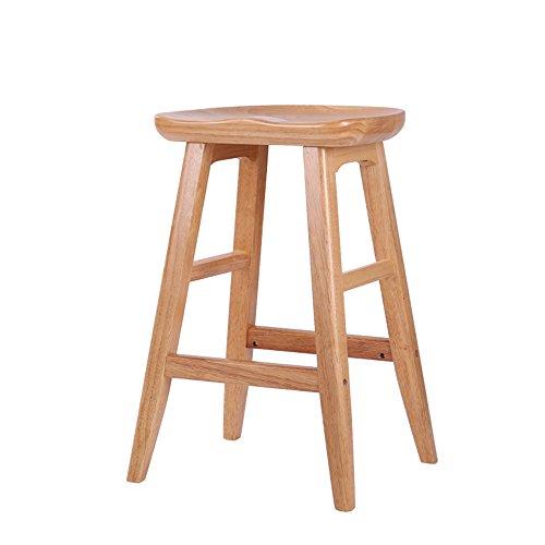 Tabouret de premier plan minimaliste moderne américain, tabouret de bar en bois massif, tabouret de bar, tabouret haut créatif maison européenne, chaise de bar ( Couleur : Couleur du bois , taille : 43*43*65cm )