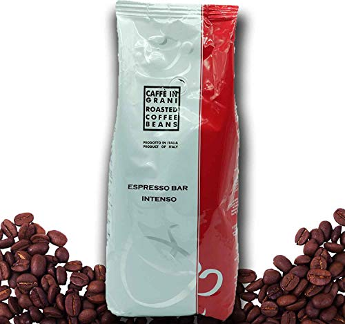 NEU Caffé in Grani – Espresso Intenso | 1 kg ganze Kaffeebohnen | starker, intensiver Kaffee mit starker Note | Barista-Qualität aus italien