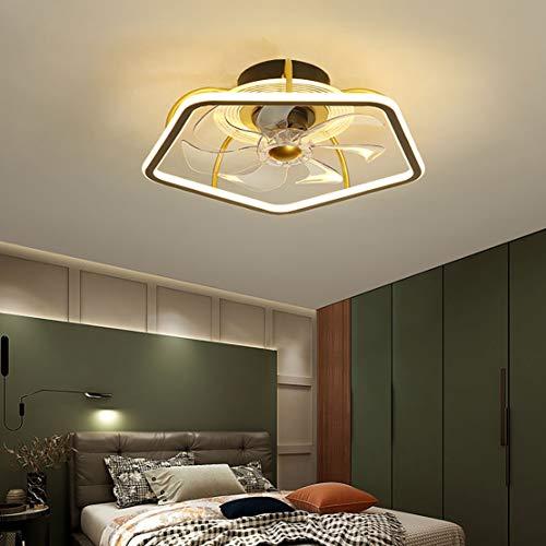 YUNZI Ventilador De Techo De Metal LED con Luz, Moderno, Regulable, Ventilador Invisible, Luz De Techo con Control Remoto, Dormitorio, Ventilador Silencioso, Lámpara De Techo