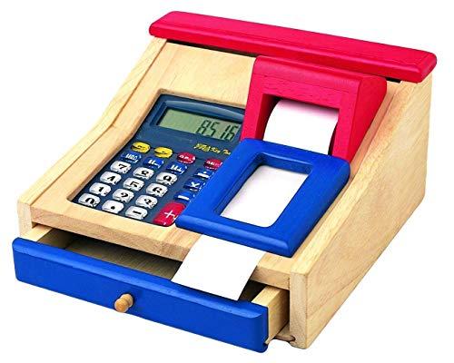 Kaufladenkasse aus Holz mit Taschenrechner, Kaufladenzubehör aus Holz