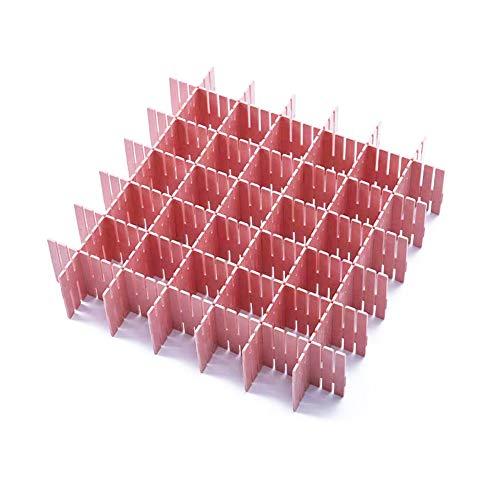 JSF Separador Cajones Ropa, Plástico Divisor de Cajón Adaptable para la Ropa Interior Calcetines o Suministros de Oficina, 12 Unids Rejilla Ajustable Organizador de Cajones (Rosa)