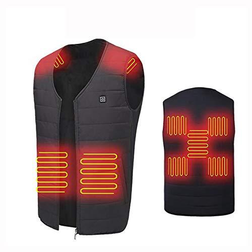 Gilet riscaldato, giacca di ricarica USB con 3 temperature regolabili e riscaldamento, gilet unisex (senza batteria), nero, XXL