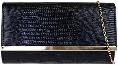 Girly Handbags Croc Effect Clutch Bag
