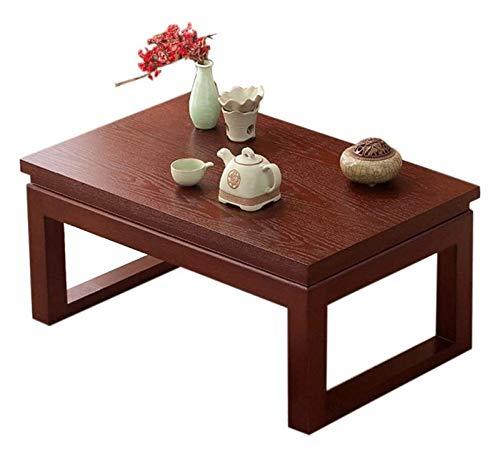 Mesa de ceremonia de té de mesa de té de mesa baja, Escritorio de computadora para la altura de tatami, café de la mesa de madera maciza pequeña elegante tatami bahía ventana hogar zen café japonés