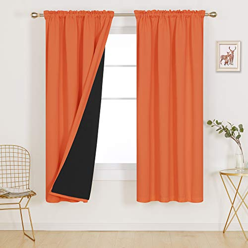 Deconovo Blue 100% Blackout Curtains Thermal Insulated Total Block Out Sun Heat Cold and Noise for Bedroom Living Room Home Office Kids Room Window Little Boy Nursery, Set of 2, 52x72 in, Orange
