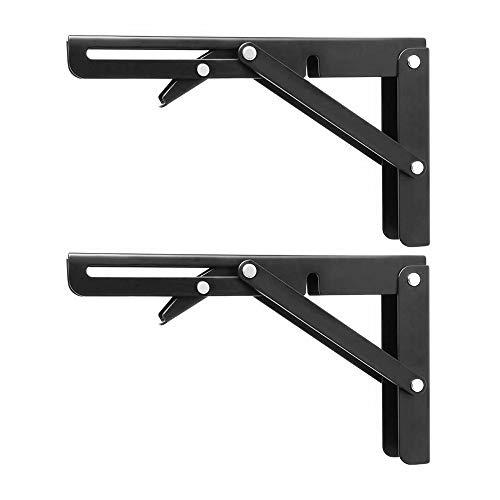 Plataforma plegable soportes de acero inoxidable montado en la pared soporte de repisa para trabajo pesado Mesa plegable soportes de pared Organizador ahorro de espacio Herramientas