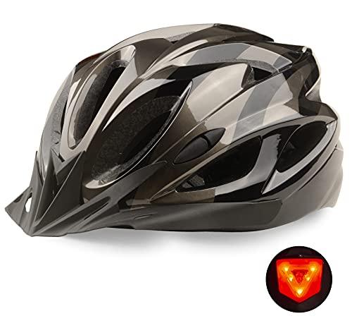 KINGLEAD Fahrradhelm mit Sicherheitslicht und Abnehmbare Sonnenblende, Unisex Männer Frauen Radhelm CE-Zertifikat Outdoor-Rennen Fahrrad-Sicherheitshelm Superlegger Fahrrad Einstellbar