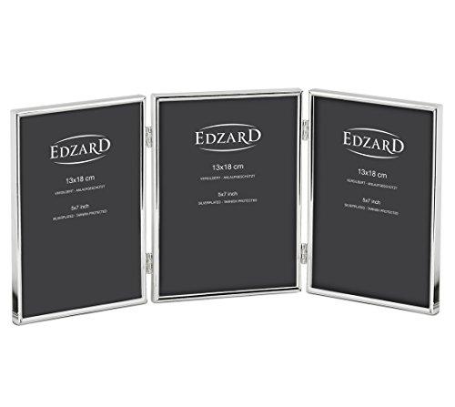 EDZARD Fotolijst Genua voor drie foto's van 13 x 18 cm, verzilverd, bestand tegen aantasting.