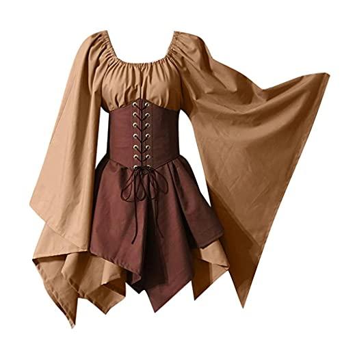 Dasongff Vestido medieval para mujer con mangas de trompeta, gtico, retro, steampunk, renacentista, cosplay, vestido de talla grande, para carnaval, fiestas, Halloween