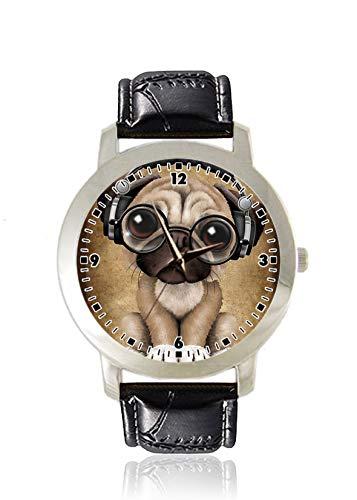 Mops-Armbanduhr für Damen, dünn, minimalistisch, modisch, wasserdicht, analog, Lederarmband, Geschenk