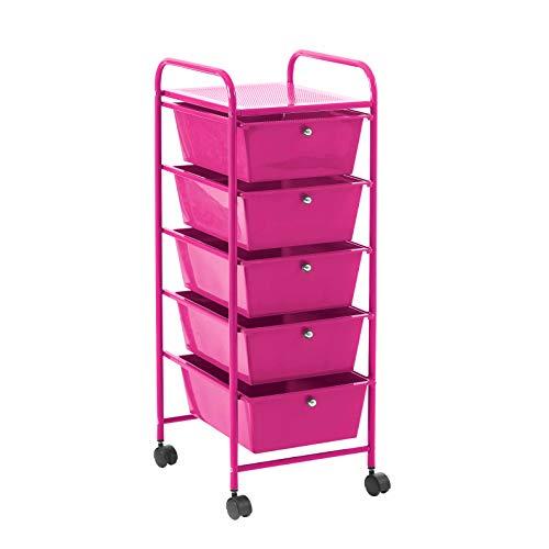 Urban Shop WK640521 - Carro de almacenaje con 5 cajones, Color Fucsia