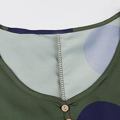 Vestido de mujer vintage de manga larga con bolsillos, cuello redondo, estampado floral, largo en A, línea en punta, para tiempo libre, Verde-10., XL