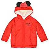 Disney Girl's Minnie Mouse Full Zip Hoodie Jacket with Ears and Bow, Red, Size 2T