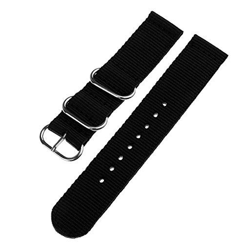 MagiDeal Bandes Bracelets pour Montre Universel en Nylon - Noir, 20mm