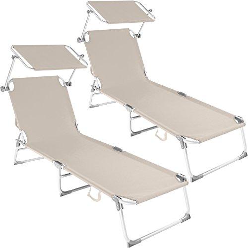 TecTake Set di 2 sedia sdraio da esterno con tetto pieghevole in alluminio - disponibile in diversi colori - (2x Beige | No. 401551)
