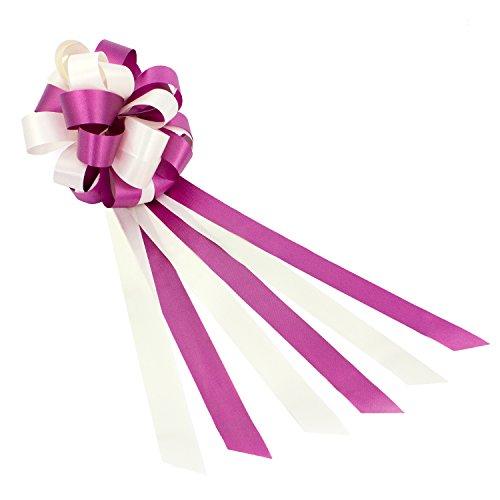 Oblique Unique® Geschenk Schleife Groß mit Geschenkband Deko Band für Geschenke und Zuckertüten - wählbar (Lila Weiß)