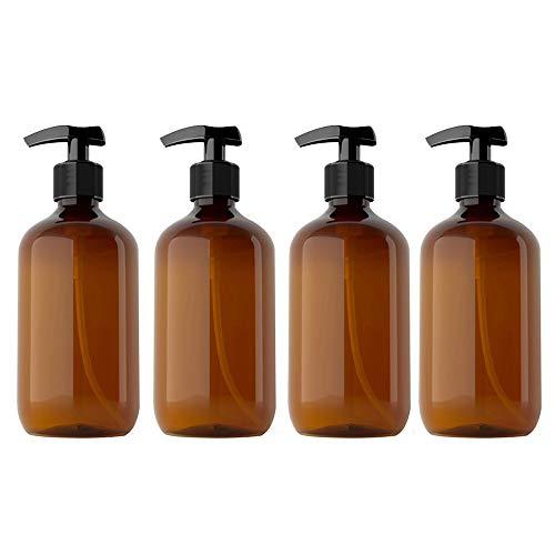 Kitchnexus 4 Stück 500ml Seifenspender Lotionspender Leer Flasche mit Schwarz Lotion Pumpe Spender Ideal für Küche Bad (Braun 300ML)