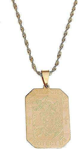 CCXXYANG Co.,ltd Collar Collar De Acero Inoxidable con Forma De Santo, Regalo Grabado Personalizado para Mujeres Y Hombres.