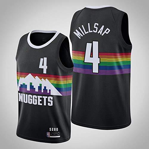 SHR-GCHAO Camiseta para Hombre, Camiseta De Baloncesto NBA Denver Nuggets # 4 Paul Millsap, Camiseta Cómoda Y Ligera Transpirable, Ropa Deportiva Sin Mangas,Negro,XXL(185~190CM)