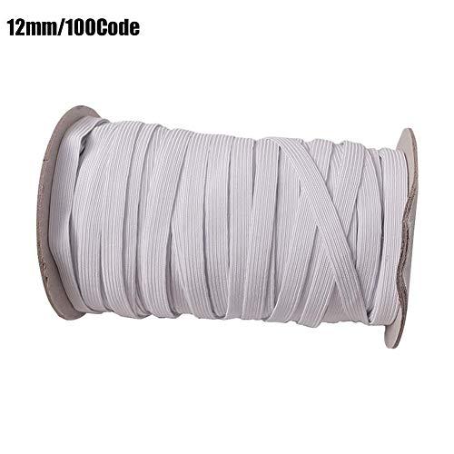 Shoh - Cinta elástica de 3 mm de ancho, 5 mm, 7 mm, 9 mm, 12 mm de largo, cinta de goma plana, accesorio para costura DIY, color negro y blanco, Negro