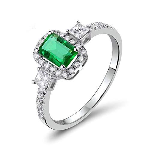 Daesar Anillos de Mujer Oro Blanco 18,Rectángulo Esmeralda Verde 0.65ct Diamante 0.34ct,Plata Verde Talla 21