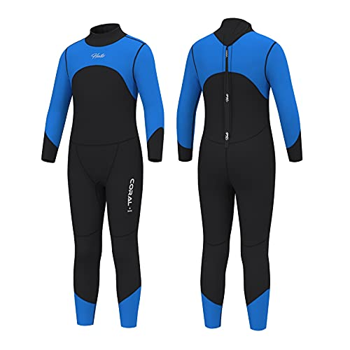 Hevto Wetsuits Kids Youth Boys Coral 3mm Neoprene Full Scuba Diving Surfing Suits for Swimming (KL4-Blue2, 10)