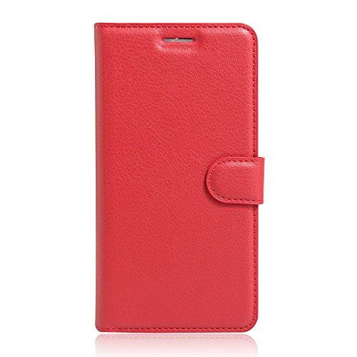 compatibile per HUAWEI Y52 Y5II Y5 II 2 (CUN-L21 CUN-L01 CUN-U29) Copertura CUSTODIA cover STAND FLIP libro magnetica GEL silicone tpu protezione eco pelle portafoglio porta carte Rosso