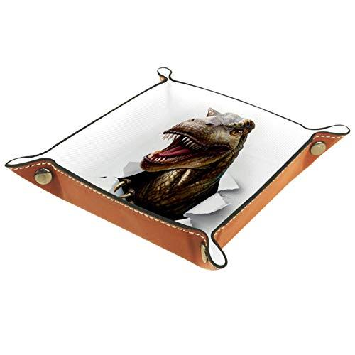 KAMEARI Bandeja de piel con diseño de dinosaurio enojado para llaves, teléfono, monedero, de piel de vacuno, práctica caja de almacenamiento