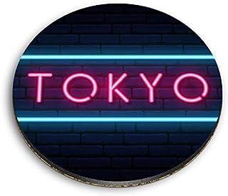 Destination Vinyl ltd Aimants ronds en MDF – Panneau japonais néon Tokyo pour bureau, armoire et tableau blanc, autocollan...