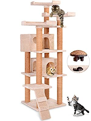 Leopet Quick Connect Cat Tree Scratching Post (Choice of Colours) 163.6 cm High Playing Activity Centre with Two Large Caves and Spacious Sightseeing Platforms