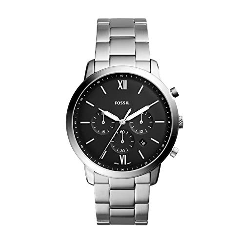 Fossil Men's Neutra Quartz Stainless Steel Chronograph Watch, Color: Silver (Model: FS5384)