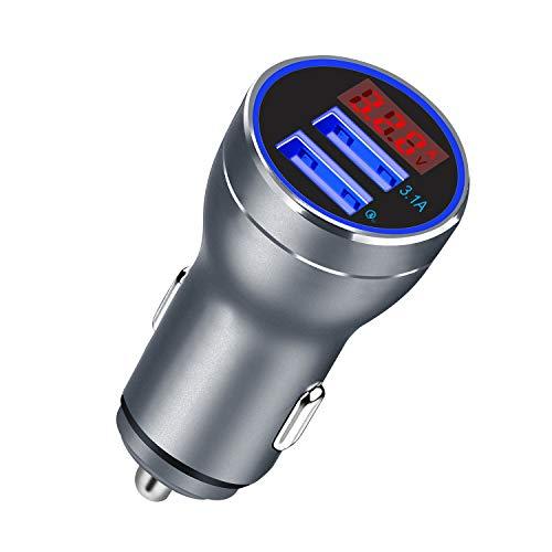 VOIMAKAS Quick Charge 3.0 Caricabatteria Auto, Adattatore di Ricarica per Auto Dual USB con voltmetro Digitale a LED Compatibile con Tablet, Android Smartphone