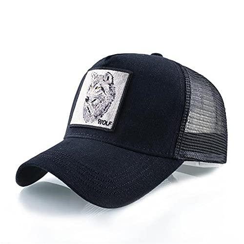 Moda Animales Gorras de bisbol Hombres Mujeres Snapback Hip Hop Sombrero Verano Malla Transpirable Sun Gorras Unisex Streetwear-Black Wolf Head