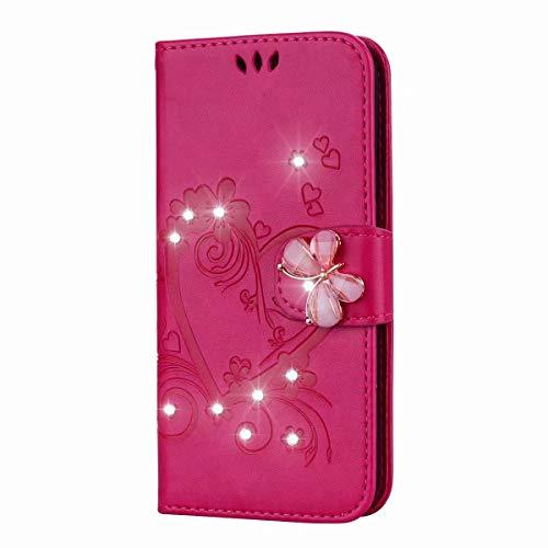 Samsung Galaxy J6 Plus telefoonhoesje, schokbestendige glitter 3D-diamanten liefde bloemen PU lederen magnetische notebook Slim Fit Folio hoesjes met standaard kaarthouders Folio zachte TPU bumper beschermhoes Samsung Galaxy J6 Plus Rood