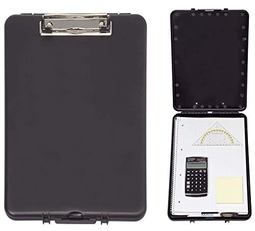 Maul 2349090 Schreibplatte mit Aufbewahrungsfach, Formularhalter, DIN A4 hoch, bruchsicherer Kunststoff, Schwarz
