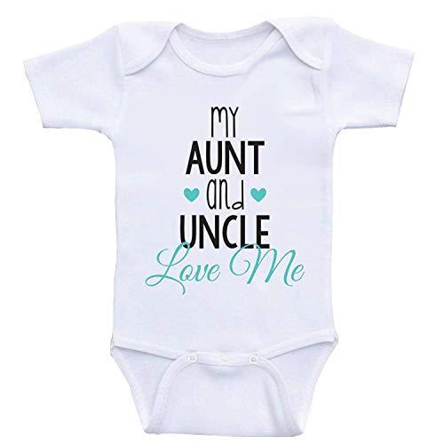 qidushop Baby-Body für Jungen und Mädchen, Aufschrift My Aunt and Oncle Love Me Gr. 50, weiß