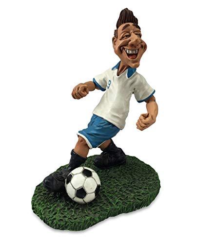 Les Alpes Orig. Sammlerfigur Fusballspieler mit Ball, 16cm - liebevoll handbemalt auf Kunstharz, viele Details - Figur Statue Kollektion Funny World Berufe Sport