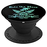 Santa Cruz Funny Ride The Wave Surfer Surfing Board Gift PopSockets Grip and Stand for Phones and Tablets