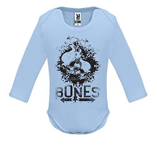Body bébé - Manche Longue - Bad Bones Crew - Bébé Garçon - Bleu - 3MOIS