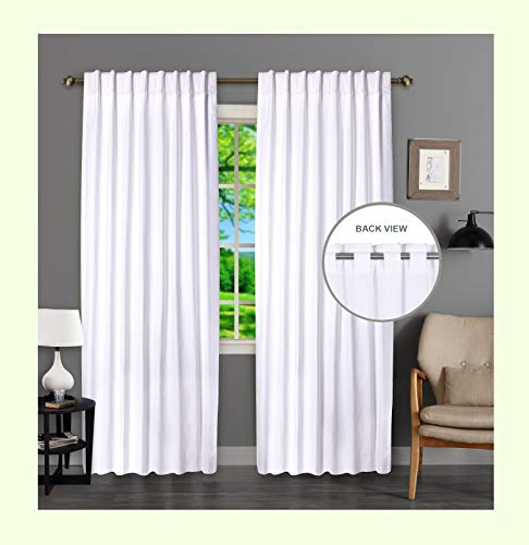 Window Panels Curtain in Cotton Duck Fabric 50x96 White, Set of 2,Farmhouse Curtain, Tab Top Curtains, Room Darkening Drapes, Curtains for Bedroom, Curtains for Living Room, Curtains