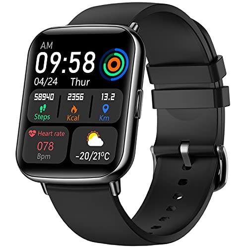 VOTUENIX Smartwatch,1.69 Zoll HD Touchscreen Fitnessuhr, Fitness Tracker uhr mit Pulsuhr, Musiksteuerung, Schrittzähler,usw. IP68 Wasserdicht Armbanduhr mit Personalisiertem Bildschirm für Android iOS