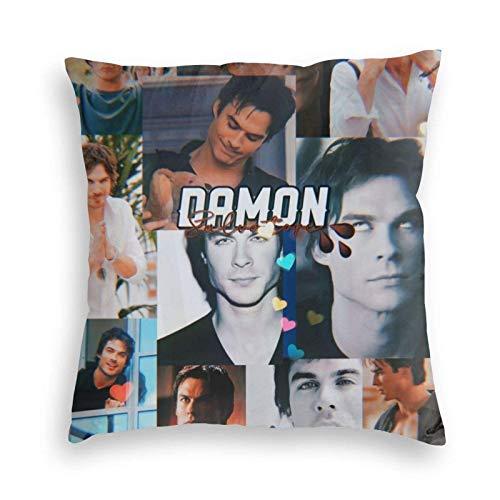 DJNGN Pillow Covers Vampire Diaries Damon Salvatore Fodere per Cuscini per Divano Fodere per Divano Fodere per Cuscini in Velluto Arancione Fodere per Cuscino Quadrato 16x16 Pollici