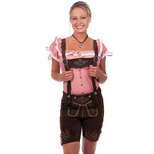 Edelnice Kurze Damen Trachten Lederhose, Alle Größen, Braun, 54
