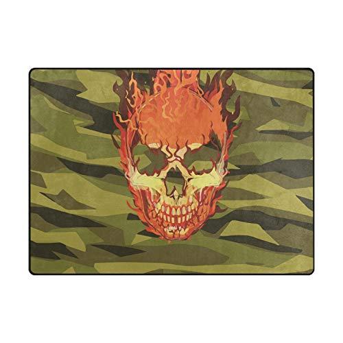 Paillassons Tapis de Sol Vert crâne de feu Vintage pour Salon Maison Chambre décoratif antidérapant 80 x 58 Pouces Tapis Tapis