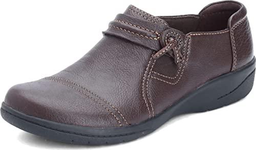 Clarks Women's Cheyn Madi Loafer, Dark Brown Tumbled Leather, 10 W US