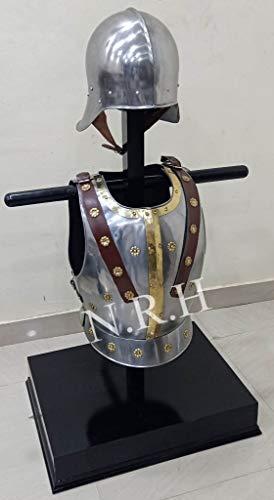 Réplica náutica de casco de armadura de sallet con nuevo pecho medieval chaqueta muscular