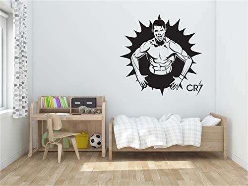 wandtattoo uhr gitarre Cr7 Ronaldo Soccer Decor Aufkleber Sport für Wohnzimmer für Jungen Zimmer für Schlafzimmer