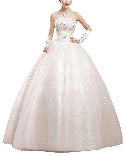 ShiFan Damen Elegant Abschlussballkleider Bandeau Kleid Hochzeitskleid Mit Ärmellos Tüll Lang Ballkleid Abendkleider Beige XL