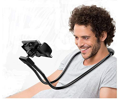 Flexible Long Arms Stand Clip Holder,Hanging on Neck Universal Mobile Phone Stand Lounger's Bracket for Mobile Phone Tablet PC Desktop(Black)